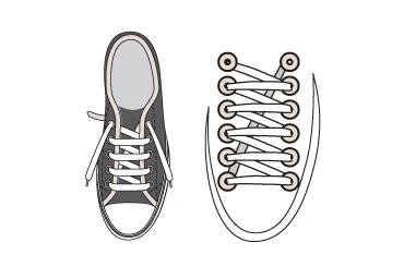 シングルの靴紐の図