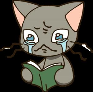 本を読んで感激するネコ